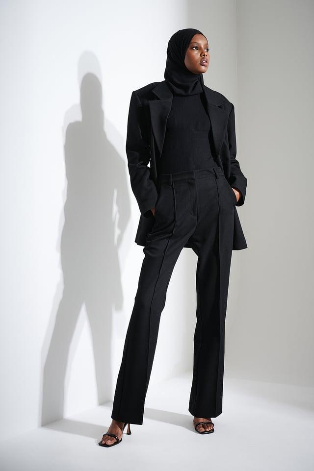 Black Seam Detail Suit Pants
