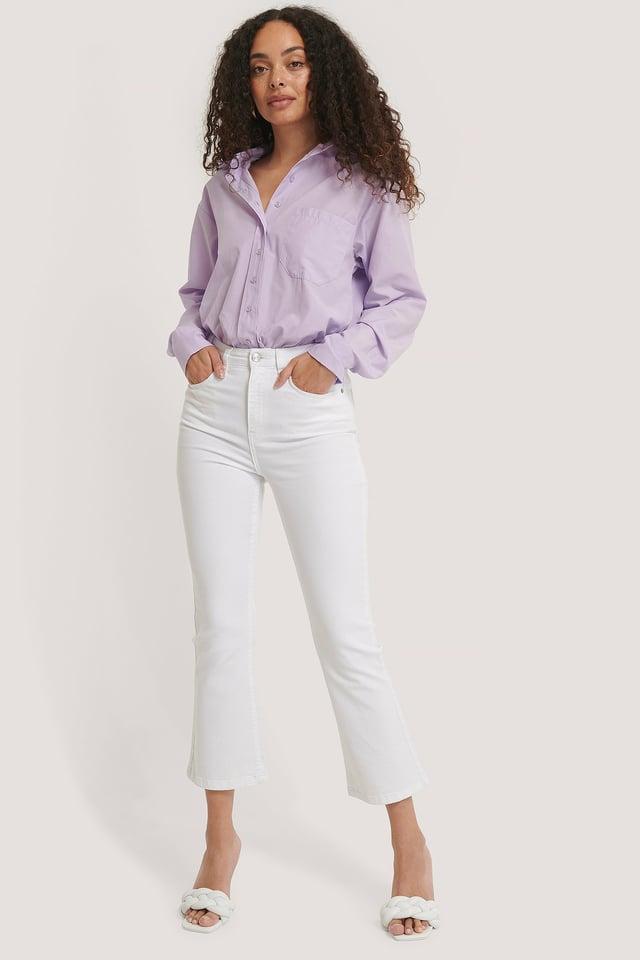 Utsvängda Jeans I Skinny Modell White