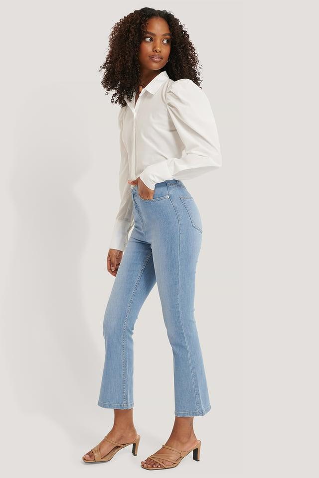 Utsvängda Jeans I Skinny Modell Light Blue