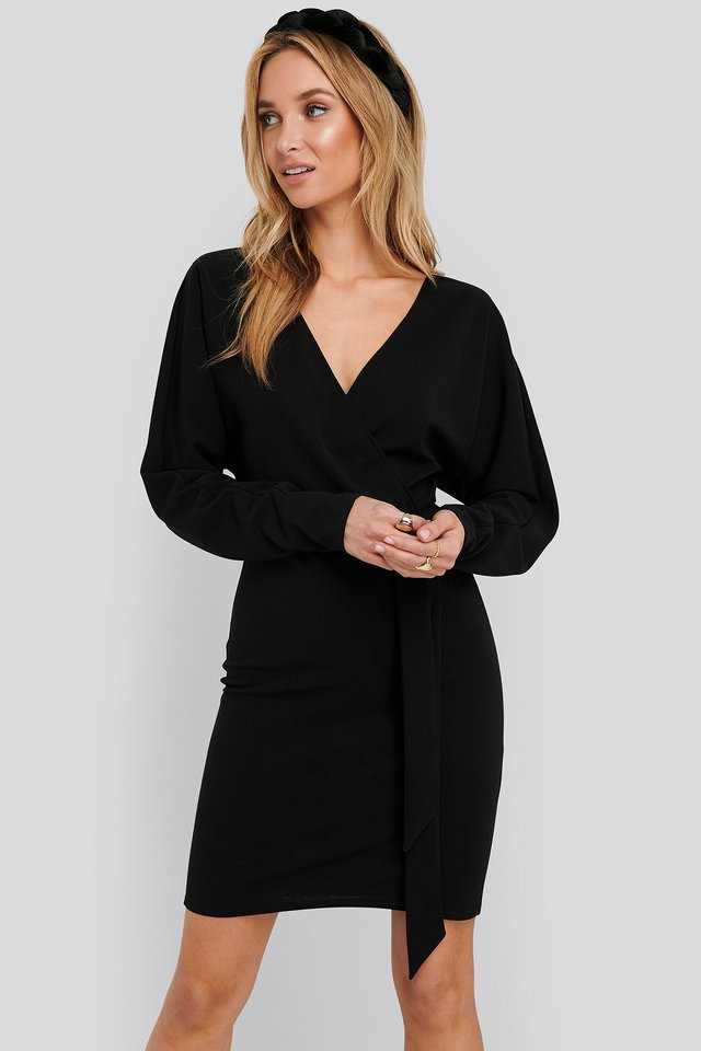 Kimono Sleeve Mini Dress Black