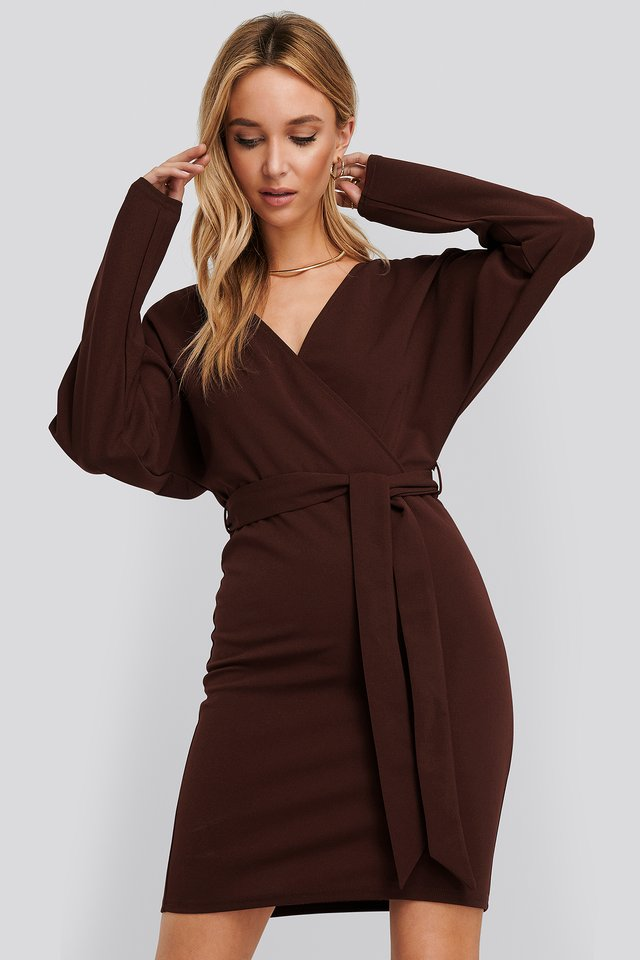 Kimono Sleeve Mini Dress Burgundy