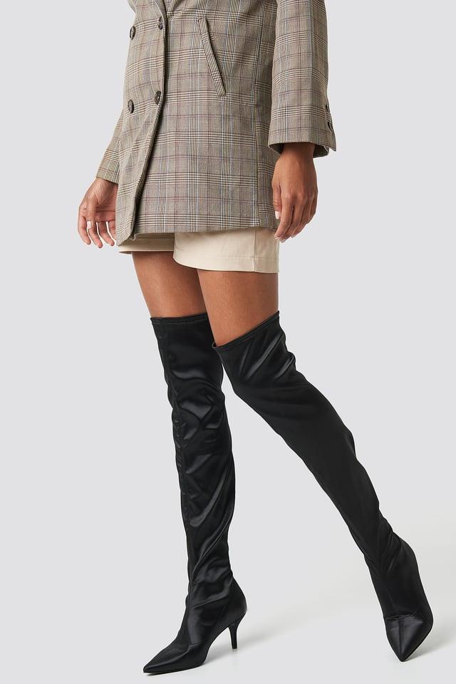 Knee High Satin Sock Boot Black