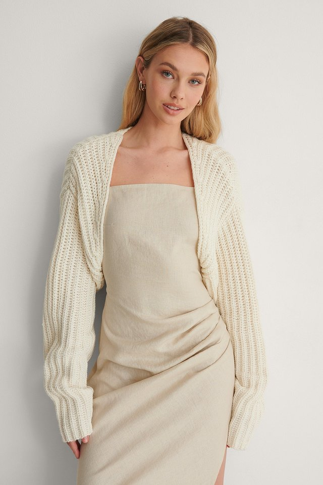 Off White Recycled Knitted Bolero Cardigan