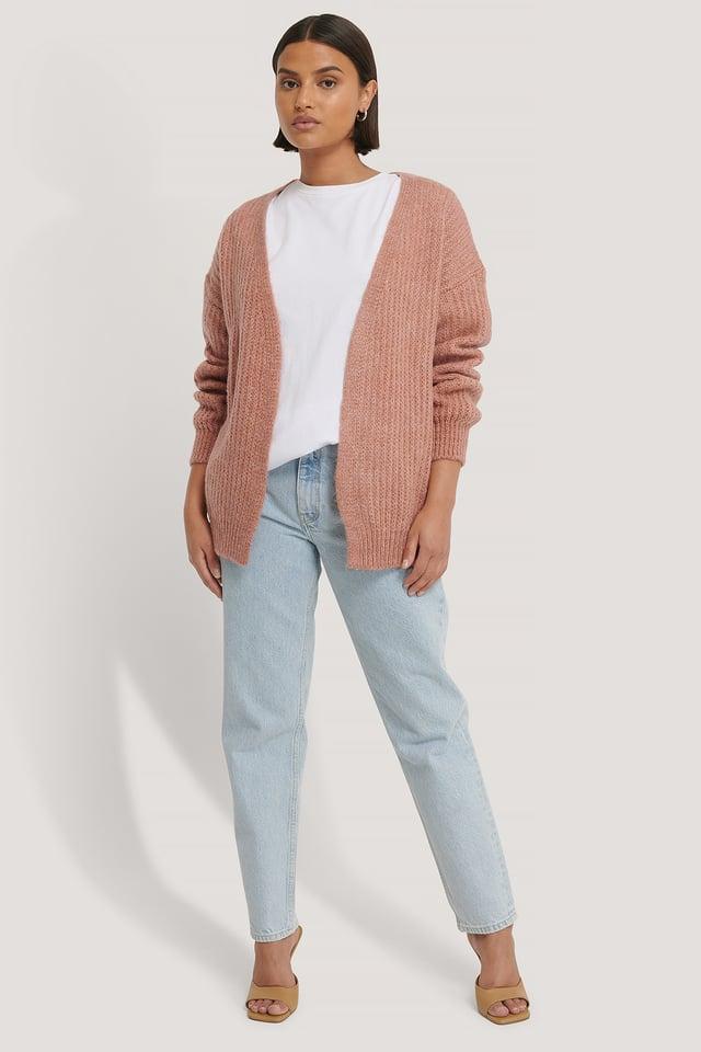 Pink Stickad Cardigan
