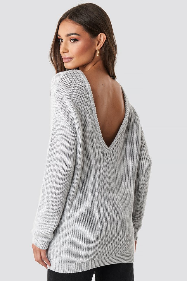 Knitted Deep V-neck Sweater Grey
