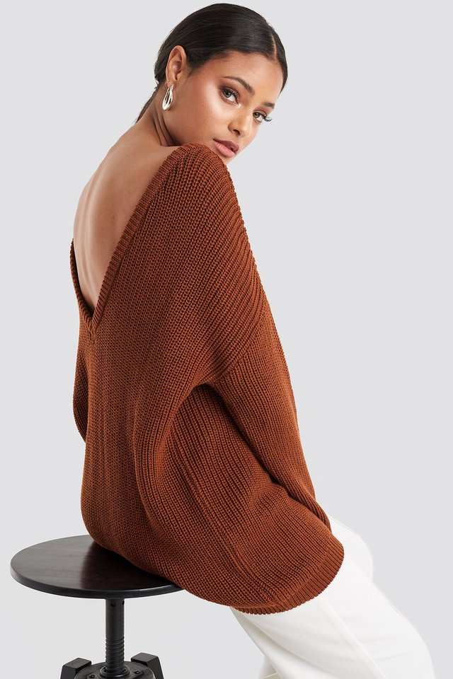 Knitted Deep V-neck Sweater Rust
