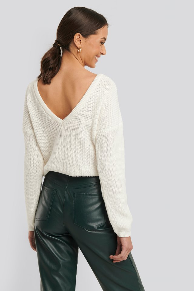 Knitted Deep V-neck Sweater White