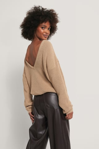 Beige Knitted Deep V-neck Sweater