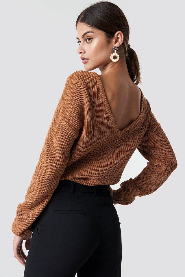 Knitted Deep V-neck Sweater Tan