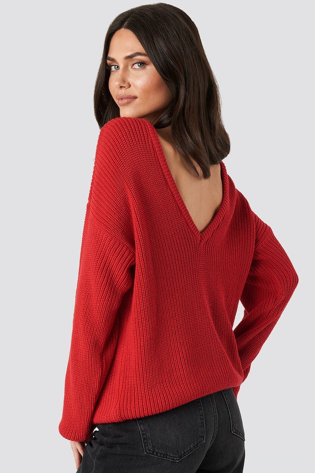 Knitted Deep V-neck Sweater Poppy Red