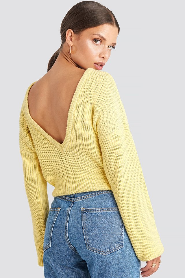 Knitted Deep V-neck Sweater Light Yellow