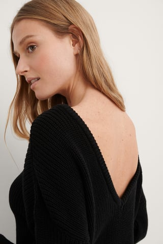 Black Knitted Deep V-neck Sweater