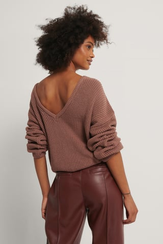 Dusty Dark Pink Knitted Deep V-neck Sweater