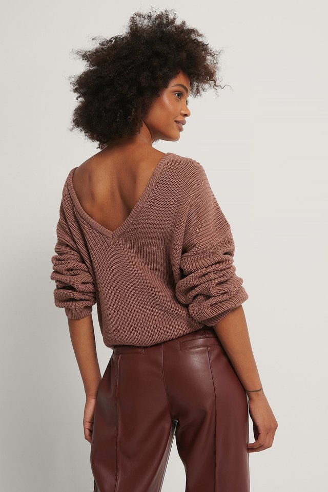 Knitted Deep V-neck Sweater Dusty Dark Pink
