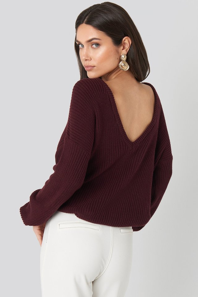 Burgundy Knitted Deep V-neck Sweater