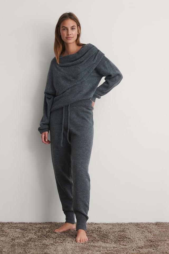 Grey Knitted High Waist Joggers