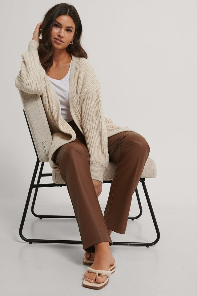 Light Beige Knitted Midi Length Cardigan