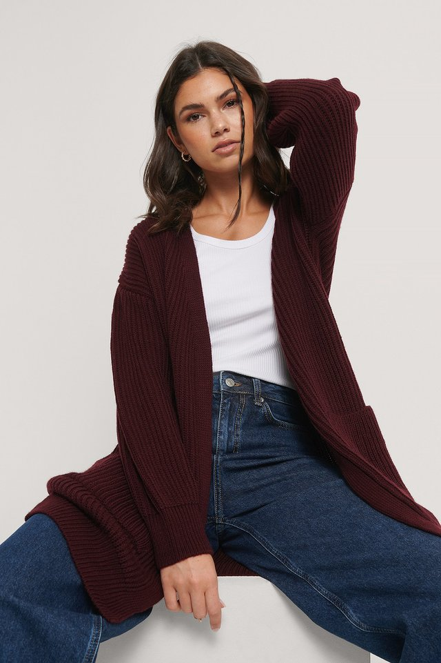 Knitted Midi Length Cardigan Bordeaux