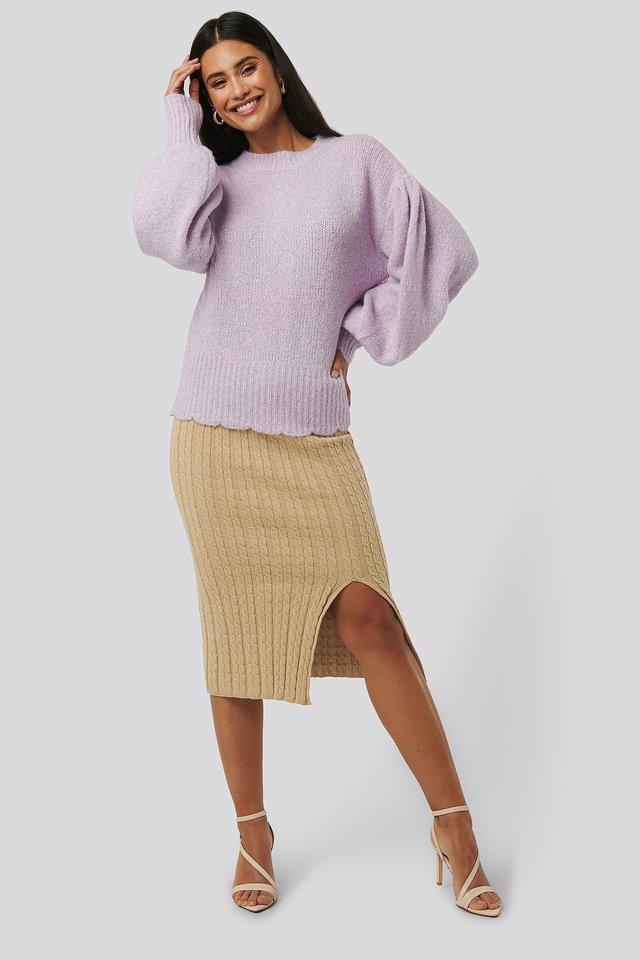 Knitted Pencil Skirt Light Beige