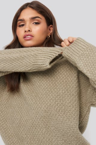 Beige Oversize Knitted Polo Sweater