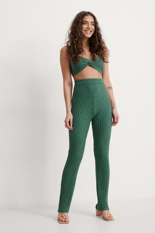 Green Melange Ribbstickade Byxor