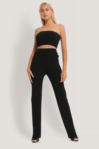Black Knitted Ribbed Pants
