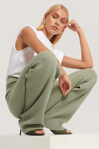 Khaki Knitted Ribbed Pants