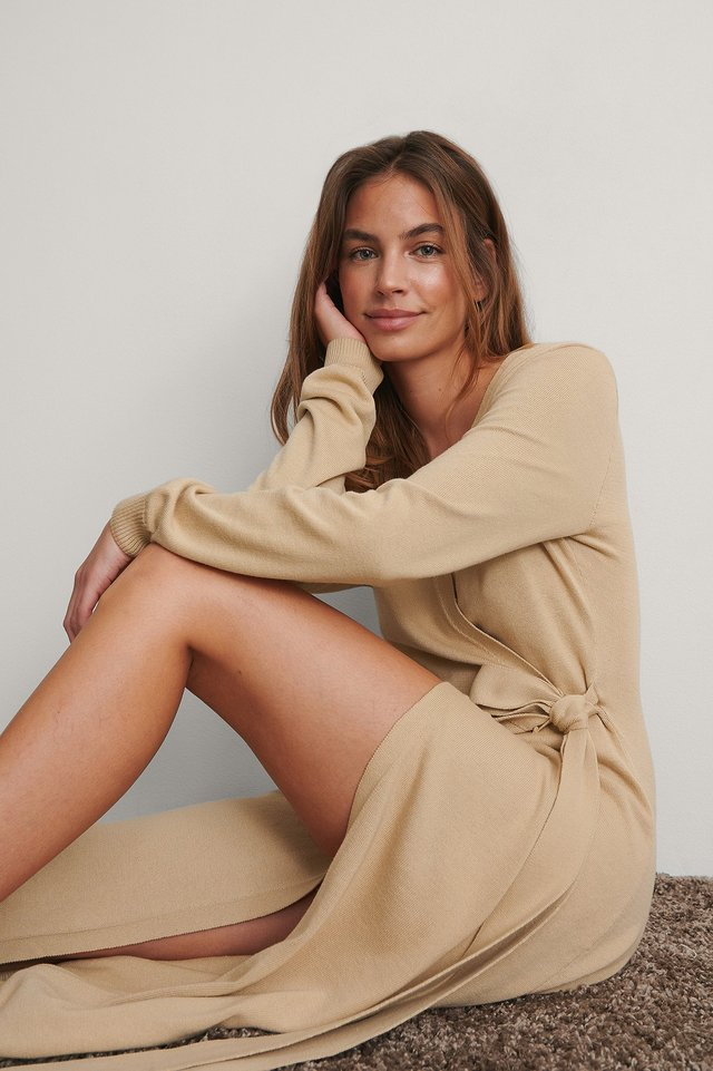 Beige Knitted Robe Dress