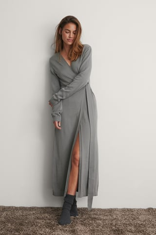 Grey Knitted Robe Dress