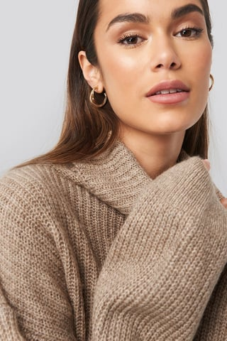 Beige Knitted Turtle Neck Sweater