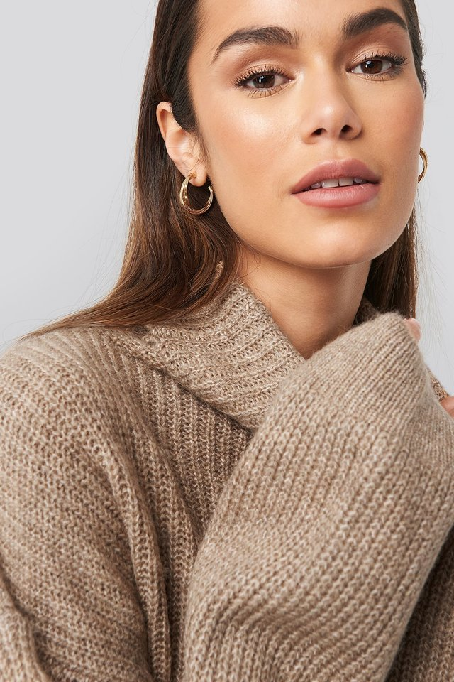 Knitted Turtle Neck Sweater Beige