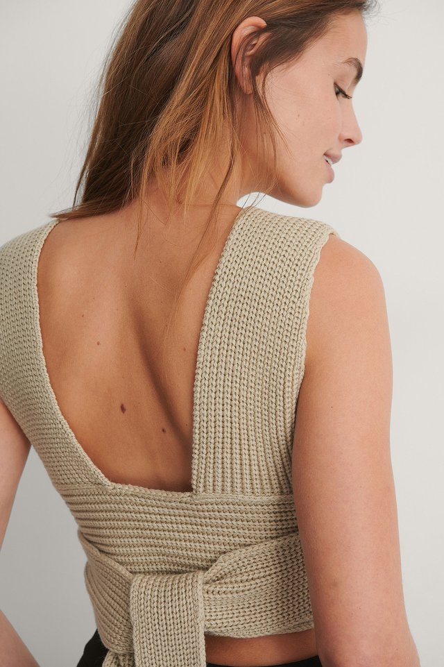 Light Beige Rib Knitted Wrap Top
