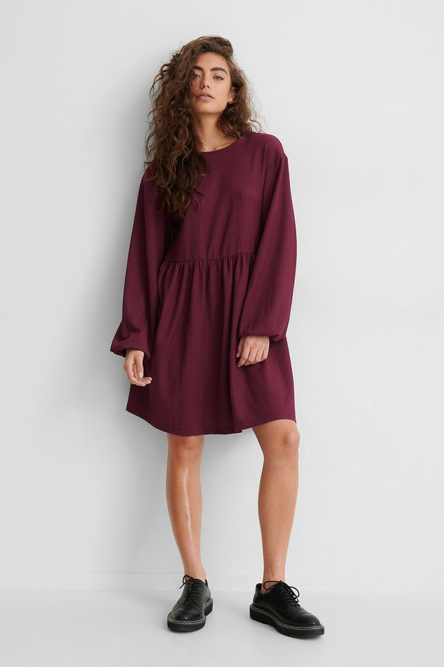 Burgundy Knot Back Detail Dress