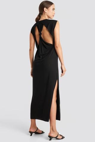 Deep Black Knot Back Jersey Midi Dress