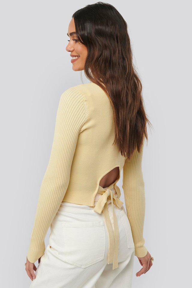 Knot Detail Knitted Sweater Light Yellow