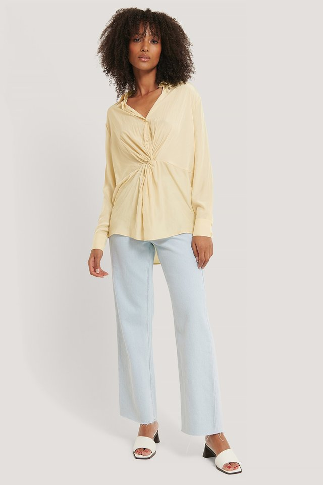 Knot Front Blouse Champagne
