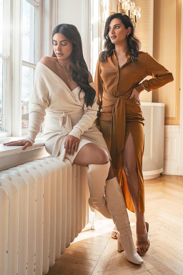 Maxi-Hemdkleid Mit Knotung Vorne Rust