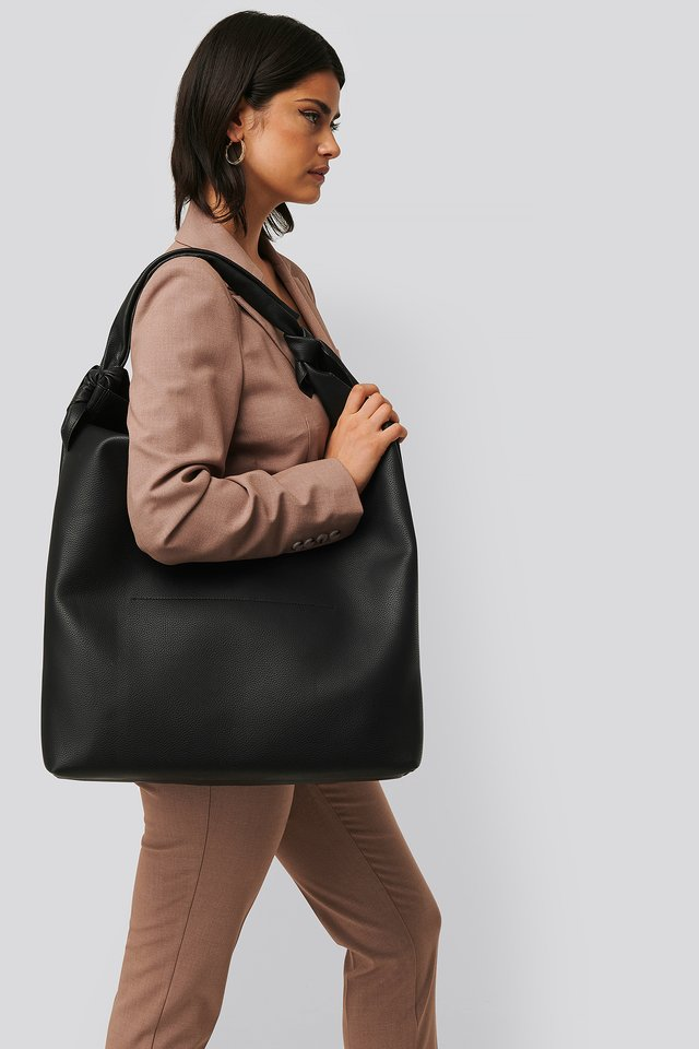 Black Knotted Hobo Bag