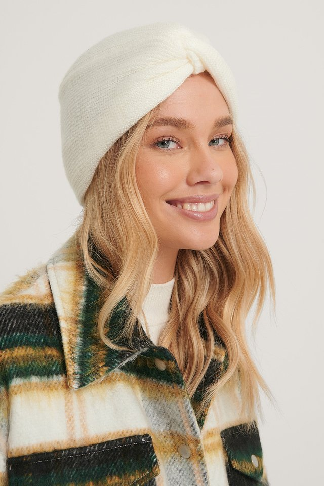 Offwhite Knotted Turban Beanie