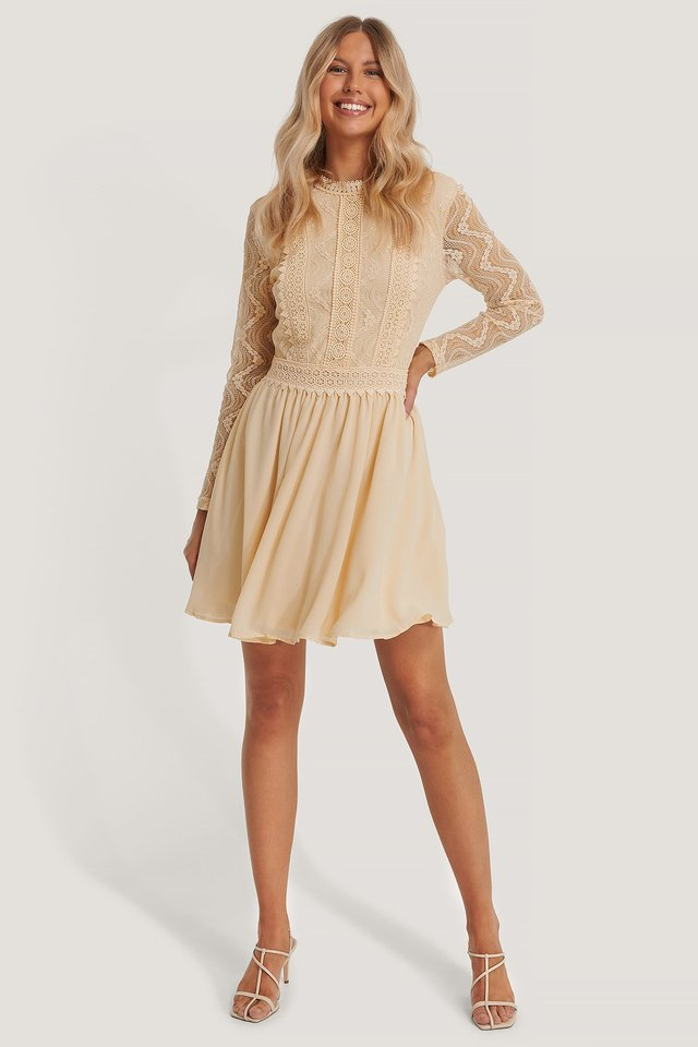 Lace Anglaise LS Mini Dress Cream