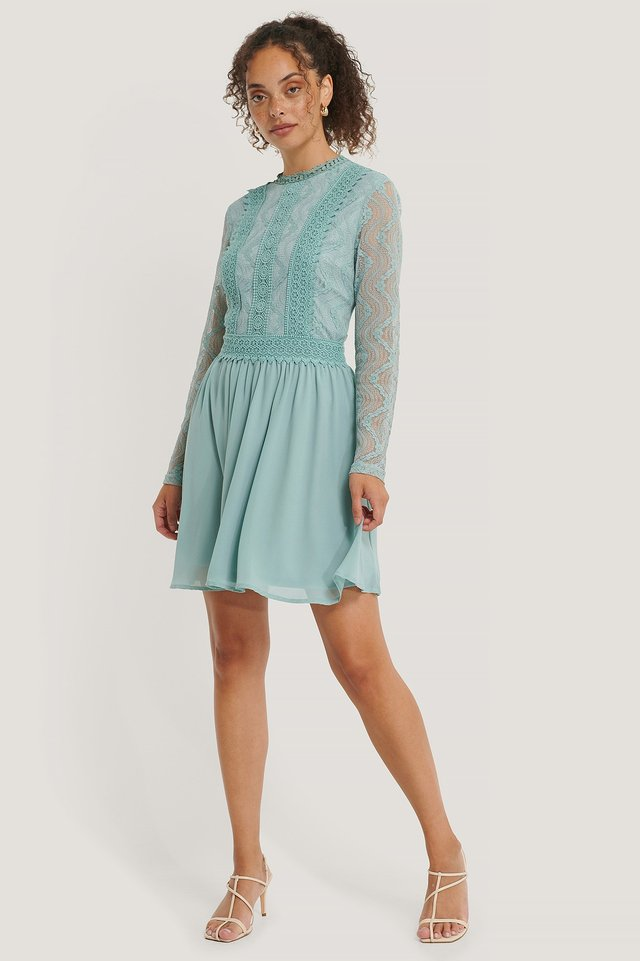 Lace Anglaise LS Mini Dress Pastel Blue
