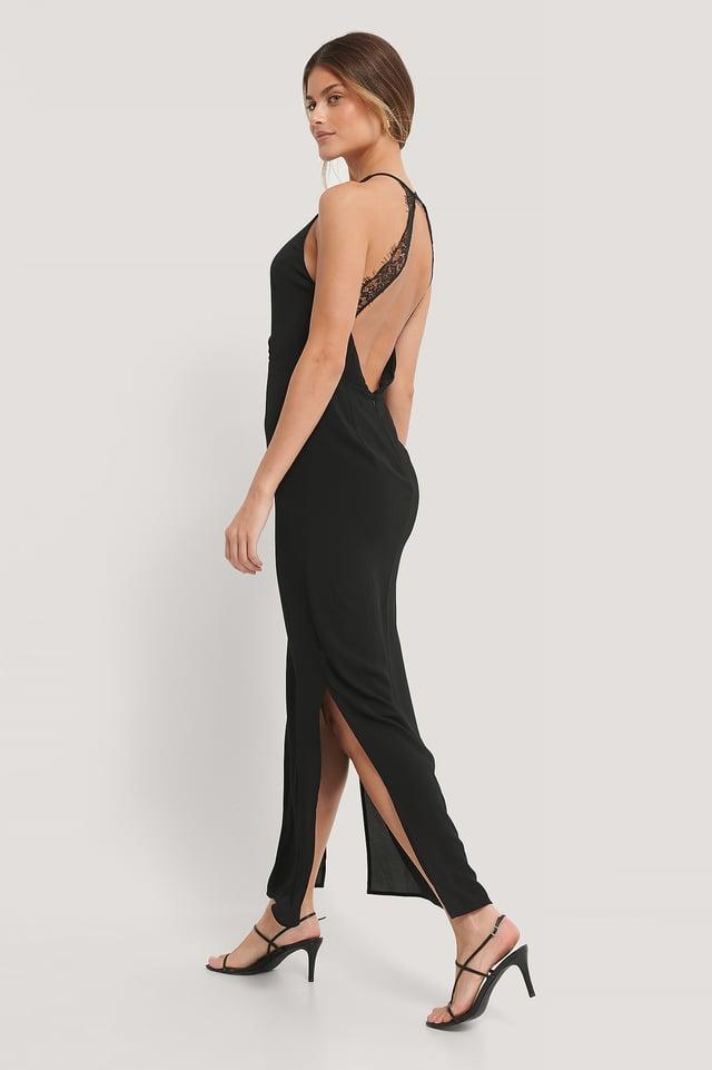 Lace Back Dress Black