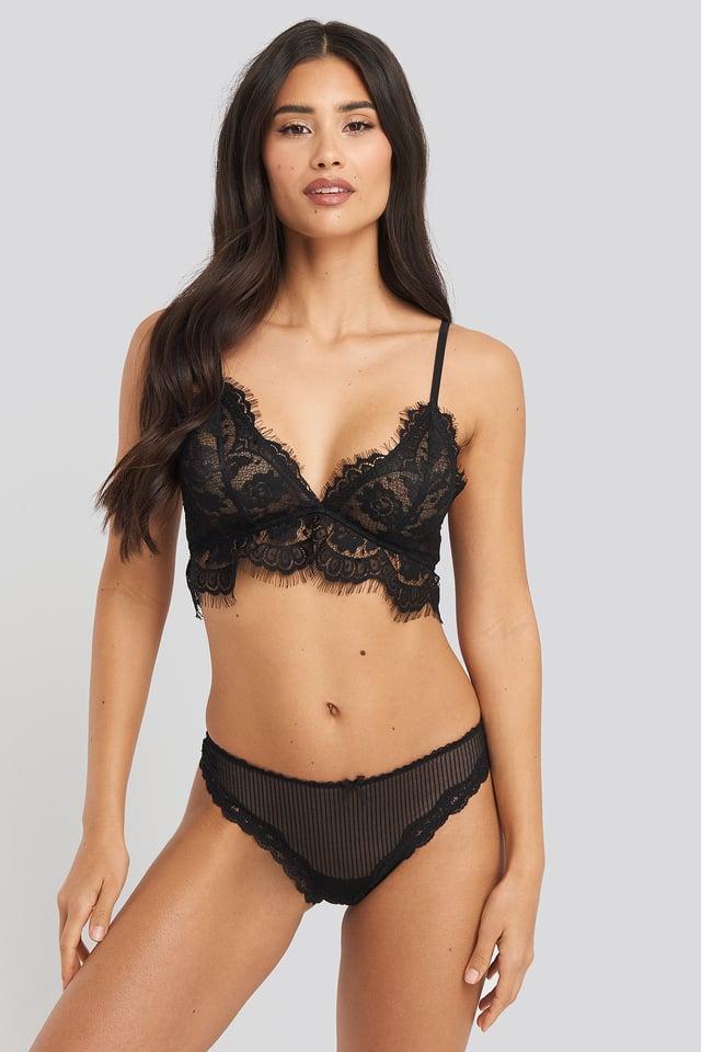Lace Basic Thong Black
