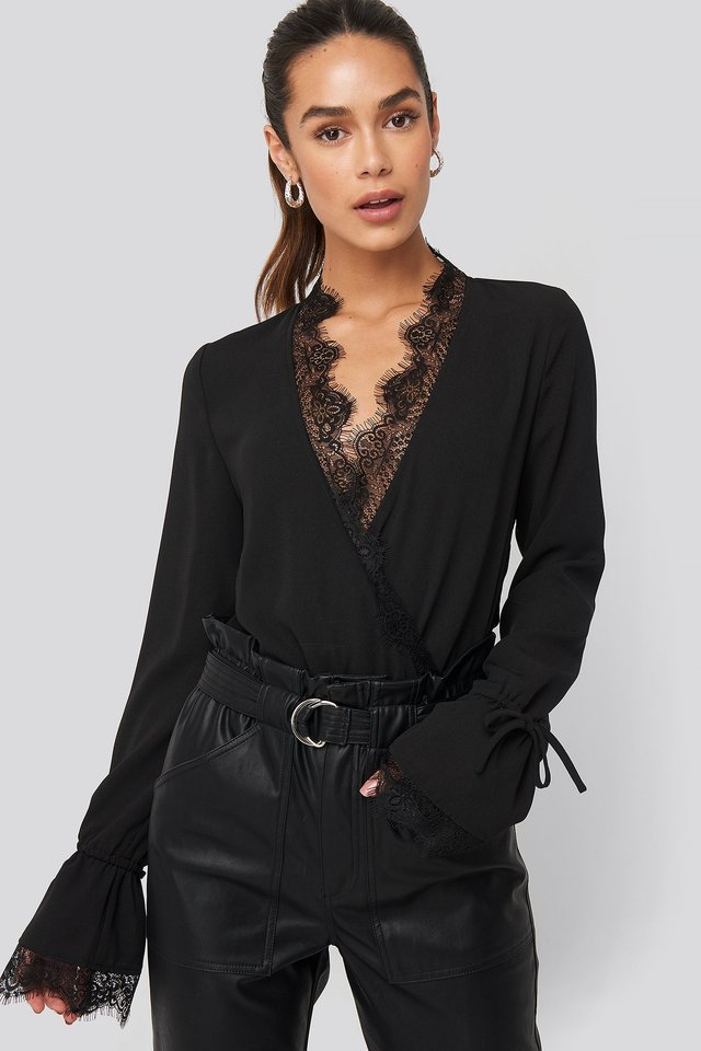 Overlap Lace Detail Bodysuit Black