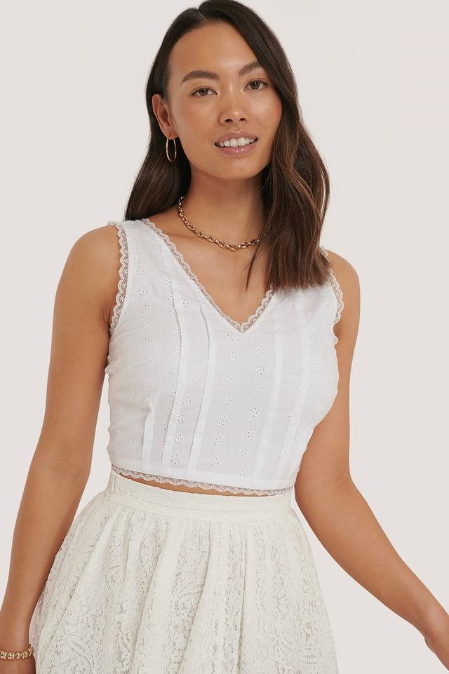 Lace Detail Crop Top White