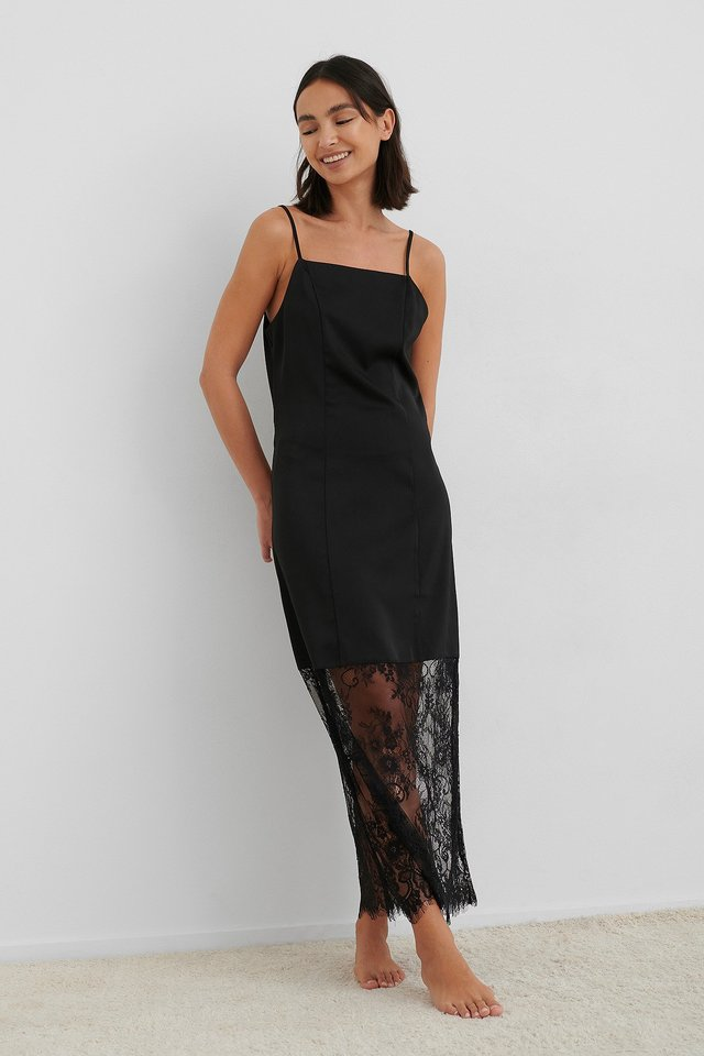 Black Lace Detail Satin Slip Dress