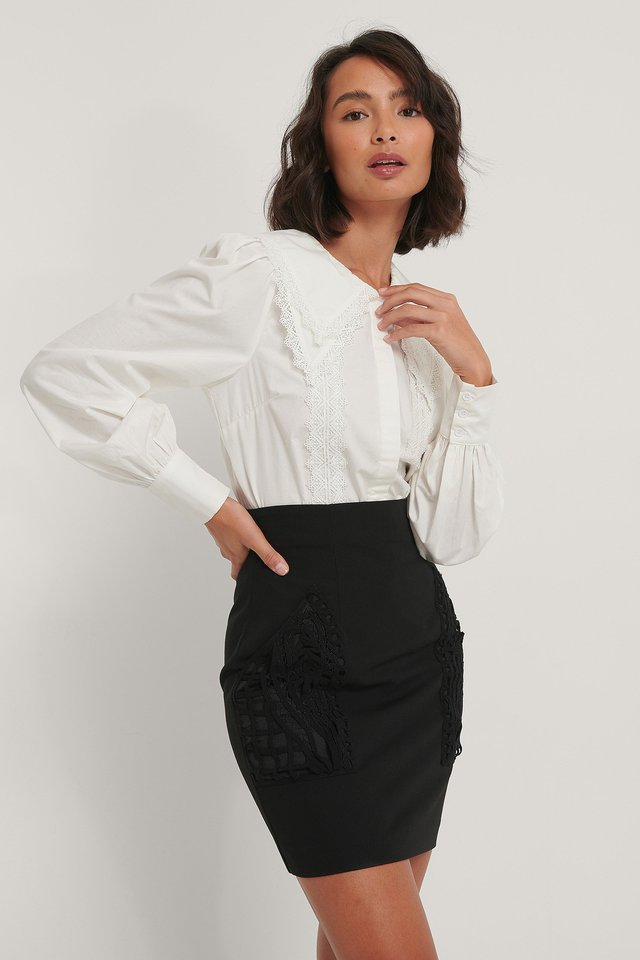 White Lace Detail Shirt