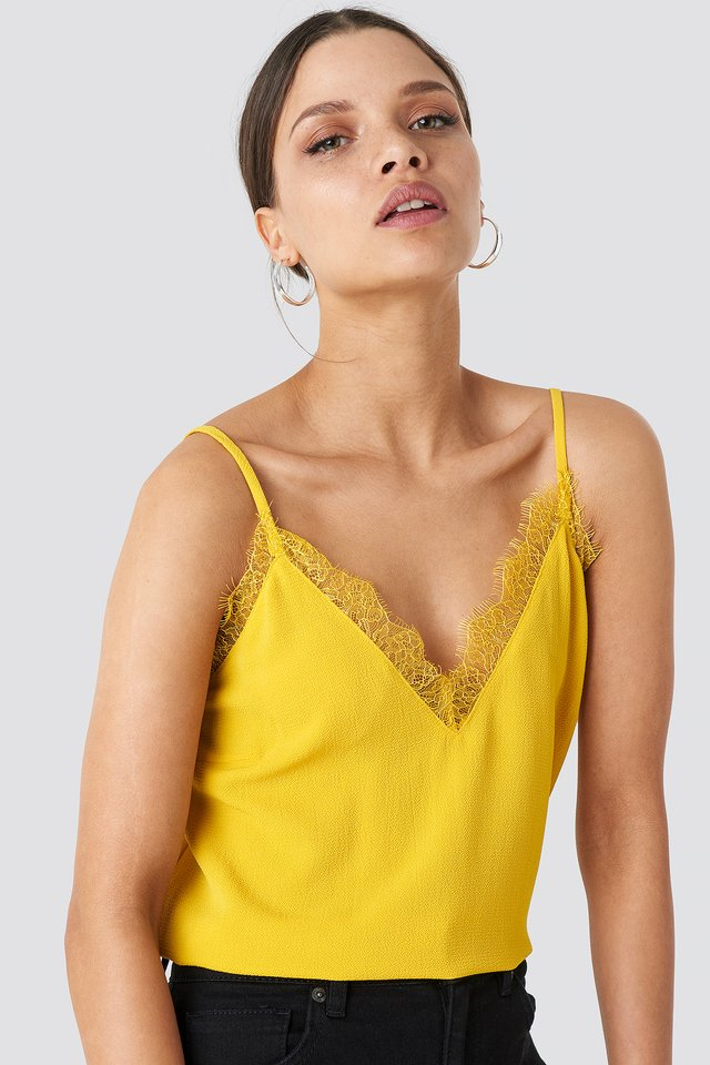 Lace Detail Singlet Citrus