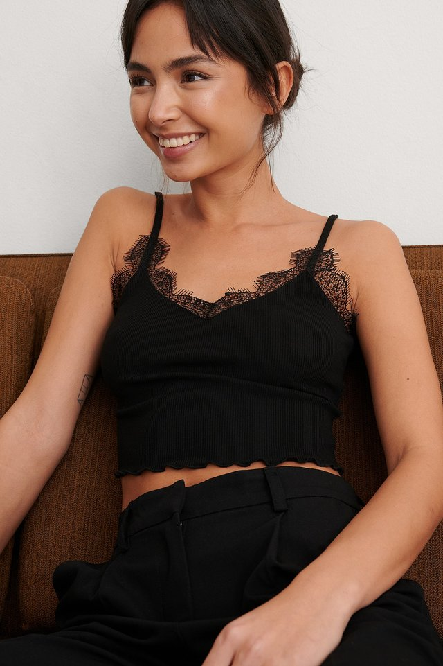 Black Lace Detailed Singlet