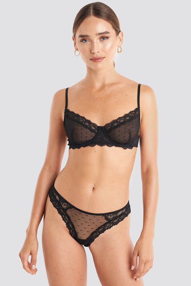 Lace Edge Dotted Brief Black